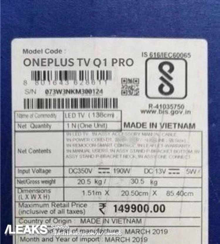 img OnePlus TV price Leaked online