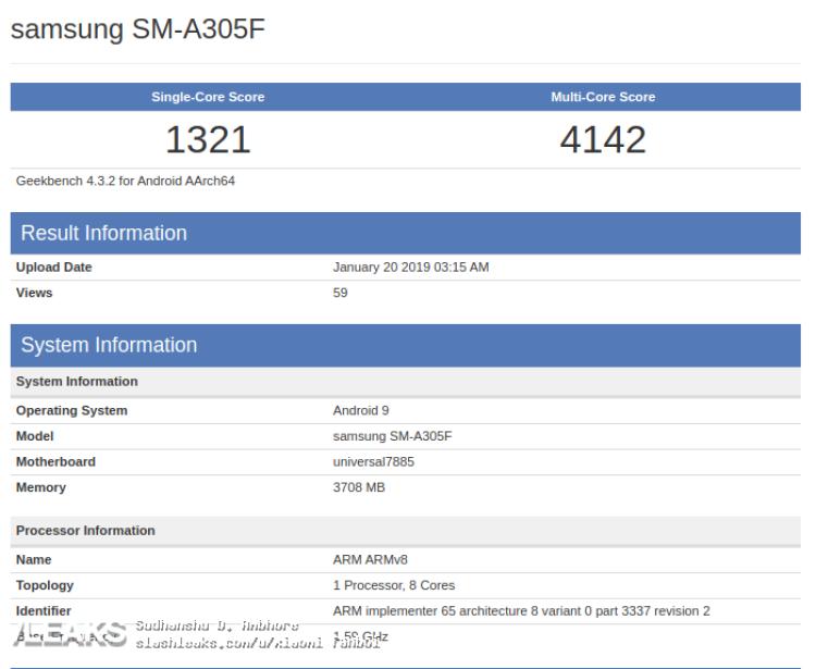 img Samsung Galaxy A30 visto no Geekbench com Exynos 7885 SoC e 4 GB de RAM