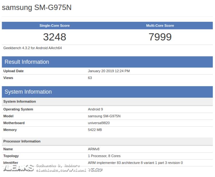 img Samsung Galaxy S10+ gets benchmarked with Exynos 9820 & 6GB RAM