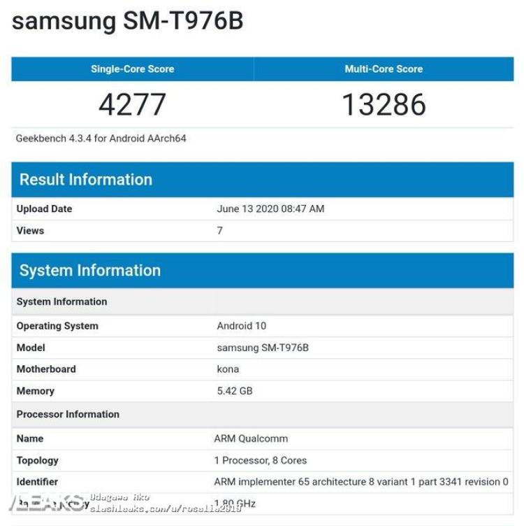 img Samsung Galaxy Tab S7 5G Geekbench Runmark Leaks