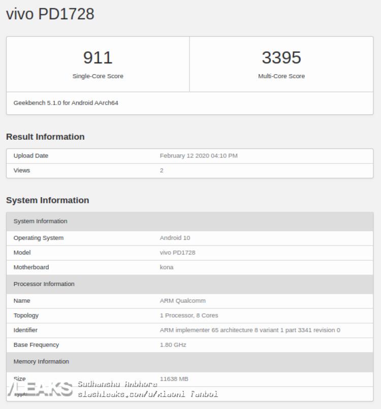 img vivo PD1728 visits Geekbench with Snapdragon 865 & 8GB/12GB RAM