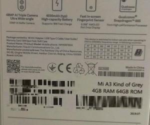 Xiaomi Mi A3 more specs confirmed