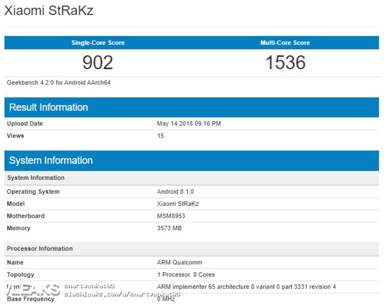 img Xiaomi Strakz Listed On GeekBench [UPDATED: REDMI 6 PRO]