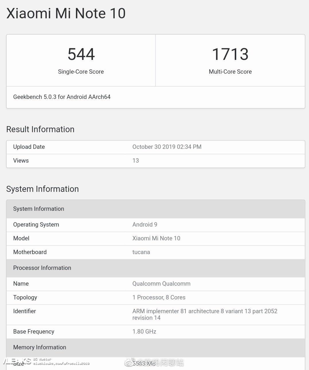 img Xiaomi Mi Note 10 Geekbench Runmark Leaks