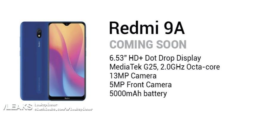 img Xiaomi Redmi 9A specs leaked